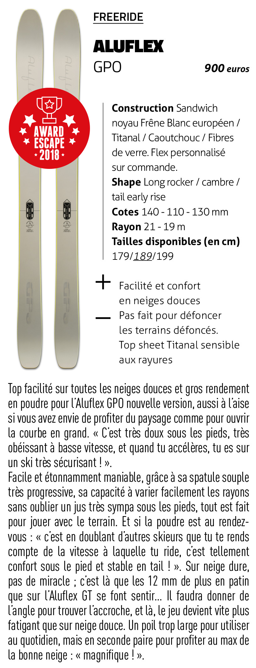 Aluflex Escape #66 Ski GPO Test Ski